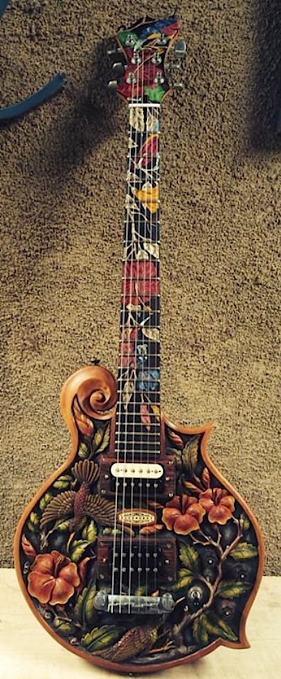 Blueberry Floral Guitar Electric Handmade In Indonesia 3 Of 3 Guitar Electric Guitar Guitar Design