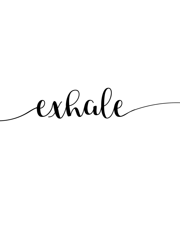 Inhale Exhale impresión, 3 diseños para 1, minimalista, guión y bloques de color, de descarga inmediata, cartel blanco y negro, pilates, yoga