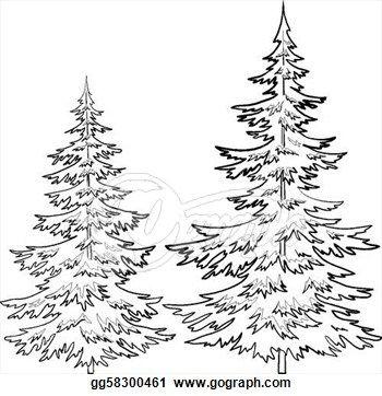 Stock Illustration - Fur-tree contours Clip Art