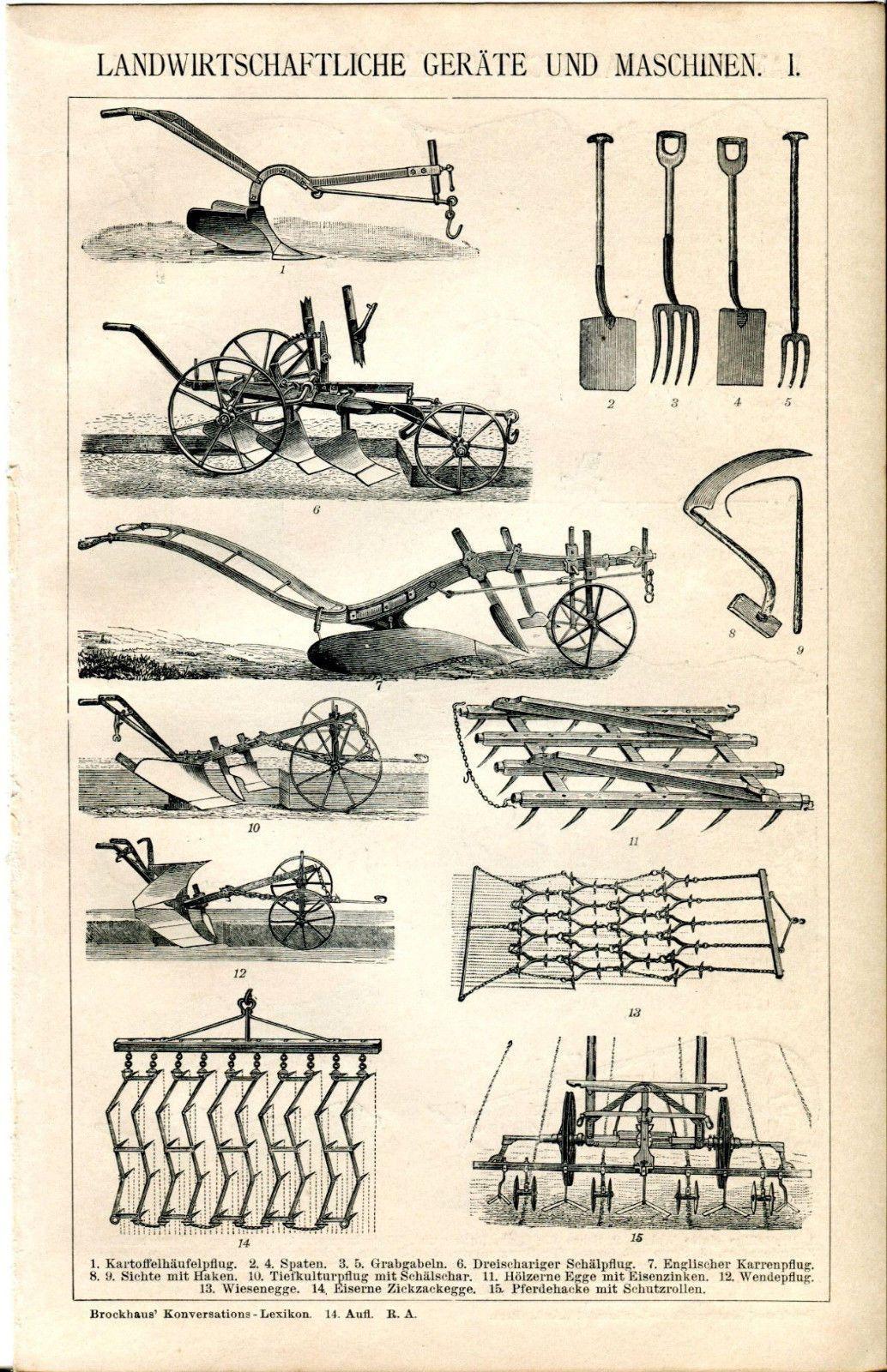 Ca 1890 Agricultural Equipment And Machinery I Ii Antique Print Ebay Old Farm Equipment Vintage Tractors Antique Tractors