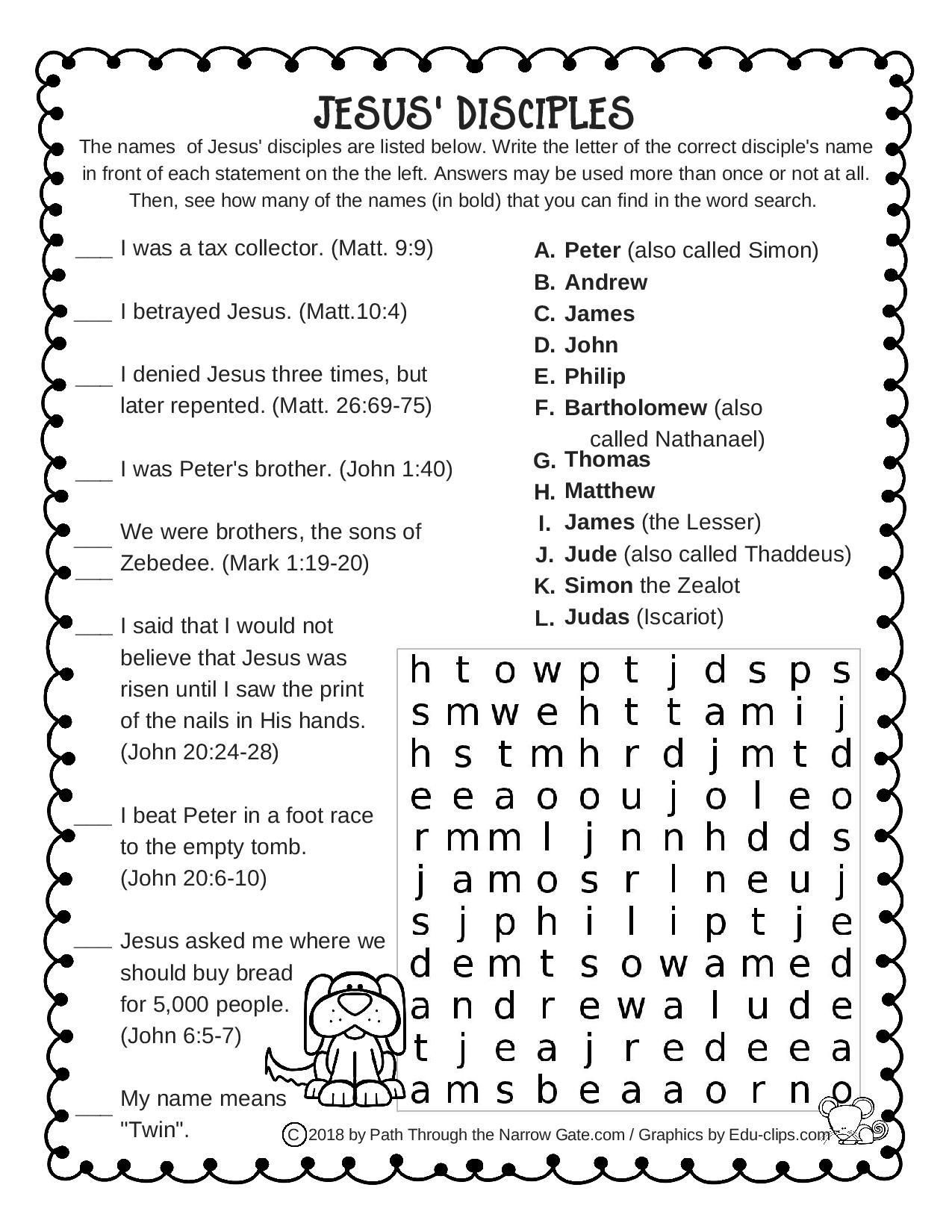 Jesus Disciples Worksheet With Images
