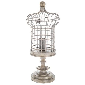 Distressed Brown Birdcage Uplight