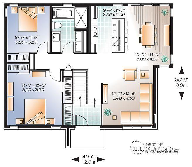 W3128 - Plan de Maison contemporaine 1 étage, 2 chambres, grande