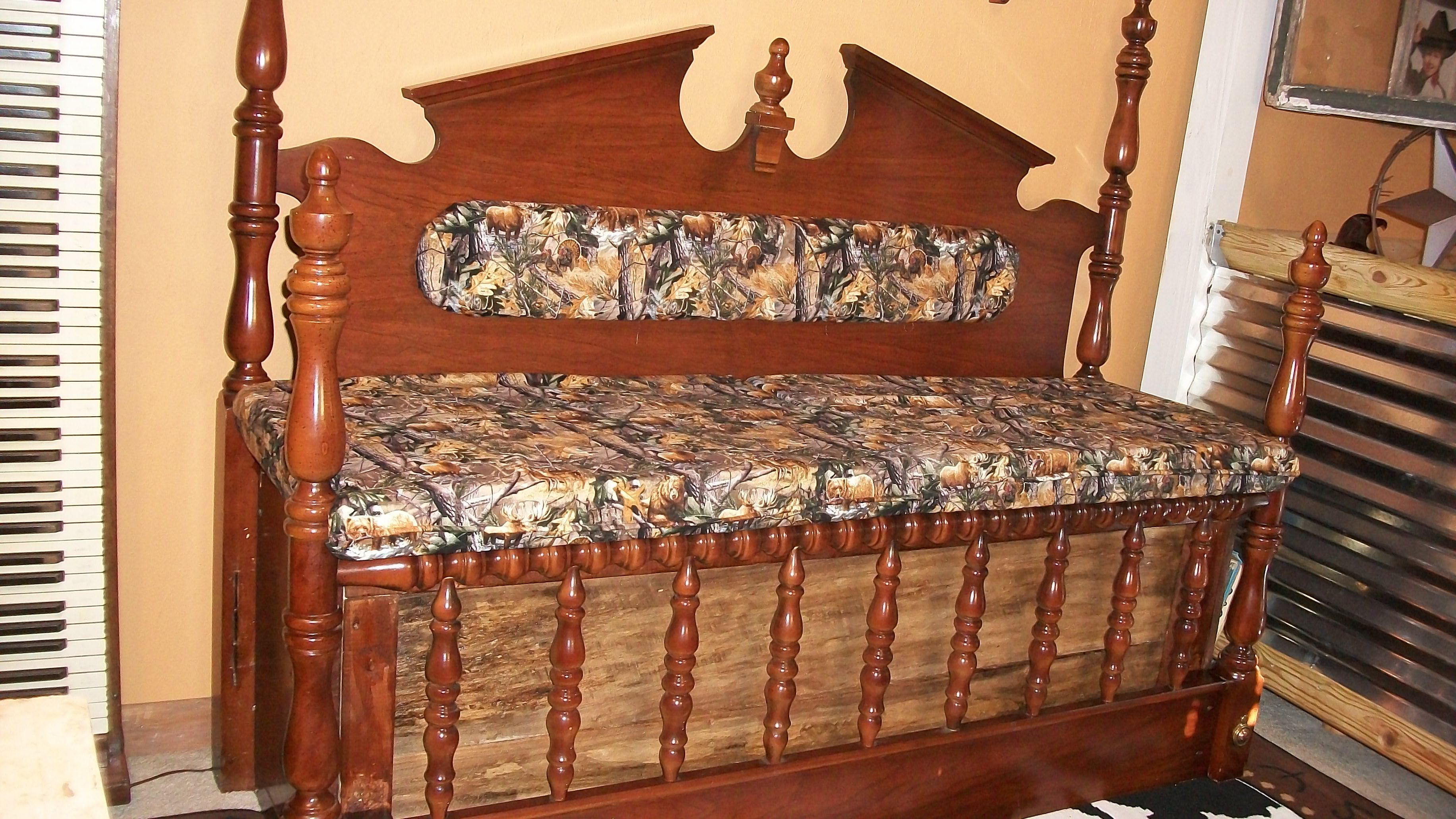 Bench made from an old headboard and footboard. It wasn't ...