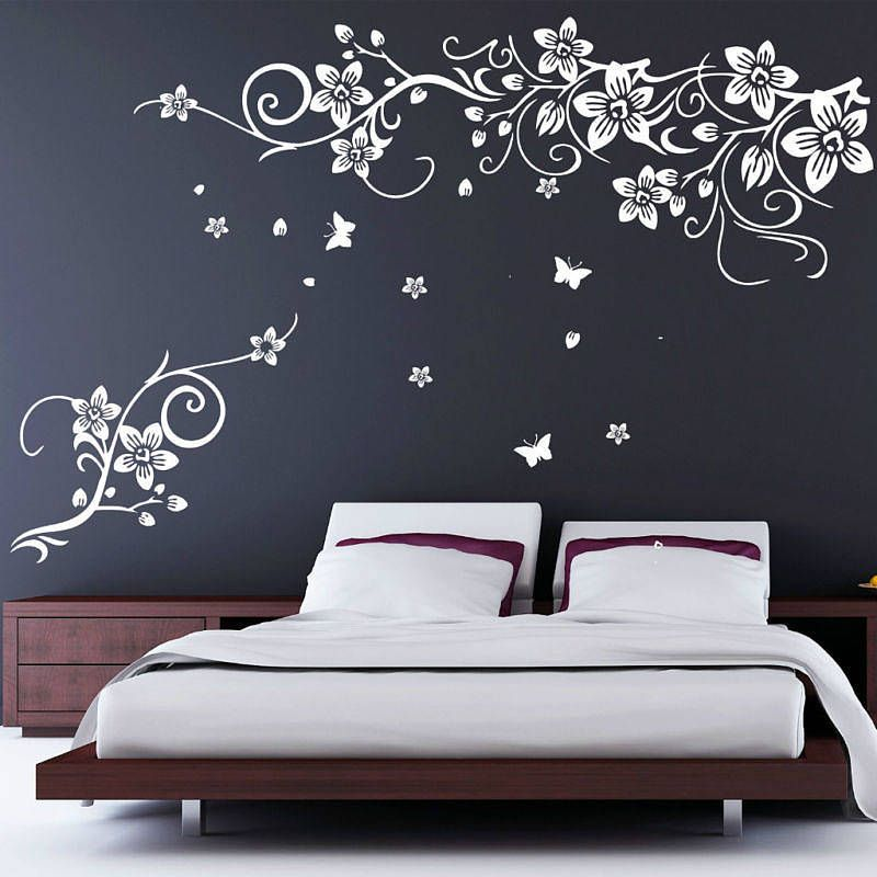 Flower And Butterfly Vine Wall Stickers Wall sticker Walls and