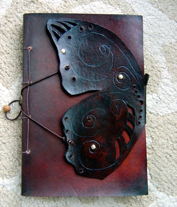 Leather Butterfly Journal, Sketchbook - Mahogany www,ZenfishLeather.com