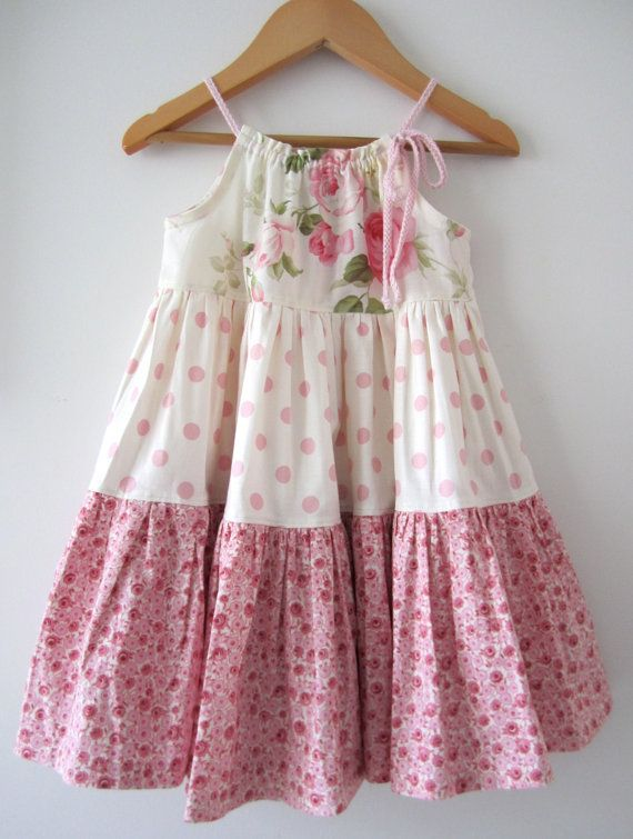 662cea7af1de Baby Girl Easter Dress-pink cotton cream shabby roses cottage ...