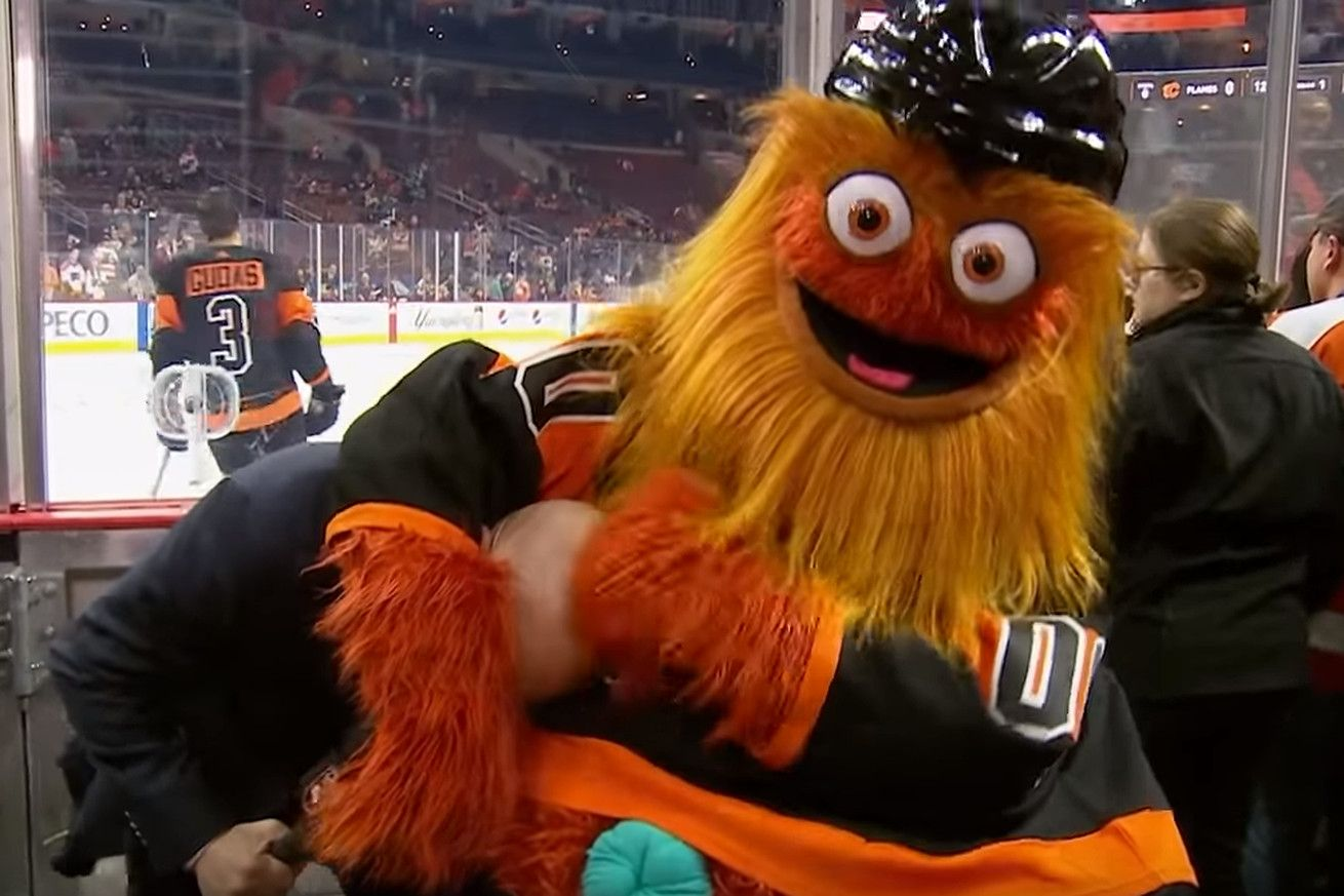 Gritty crashed the Flames' broadcast and put their