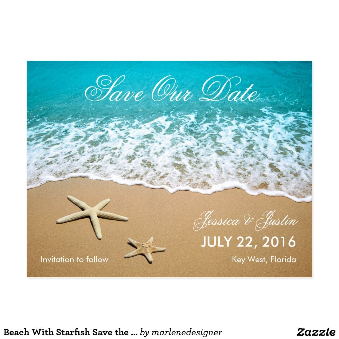 Beach With Starfish Save The Date Card Wedding Save The Date