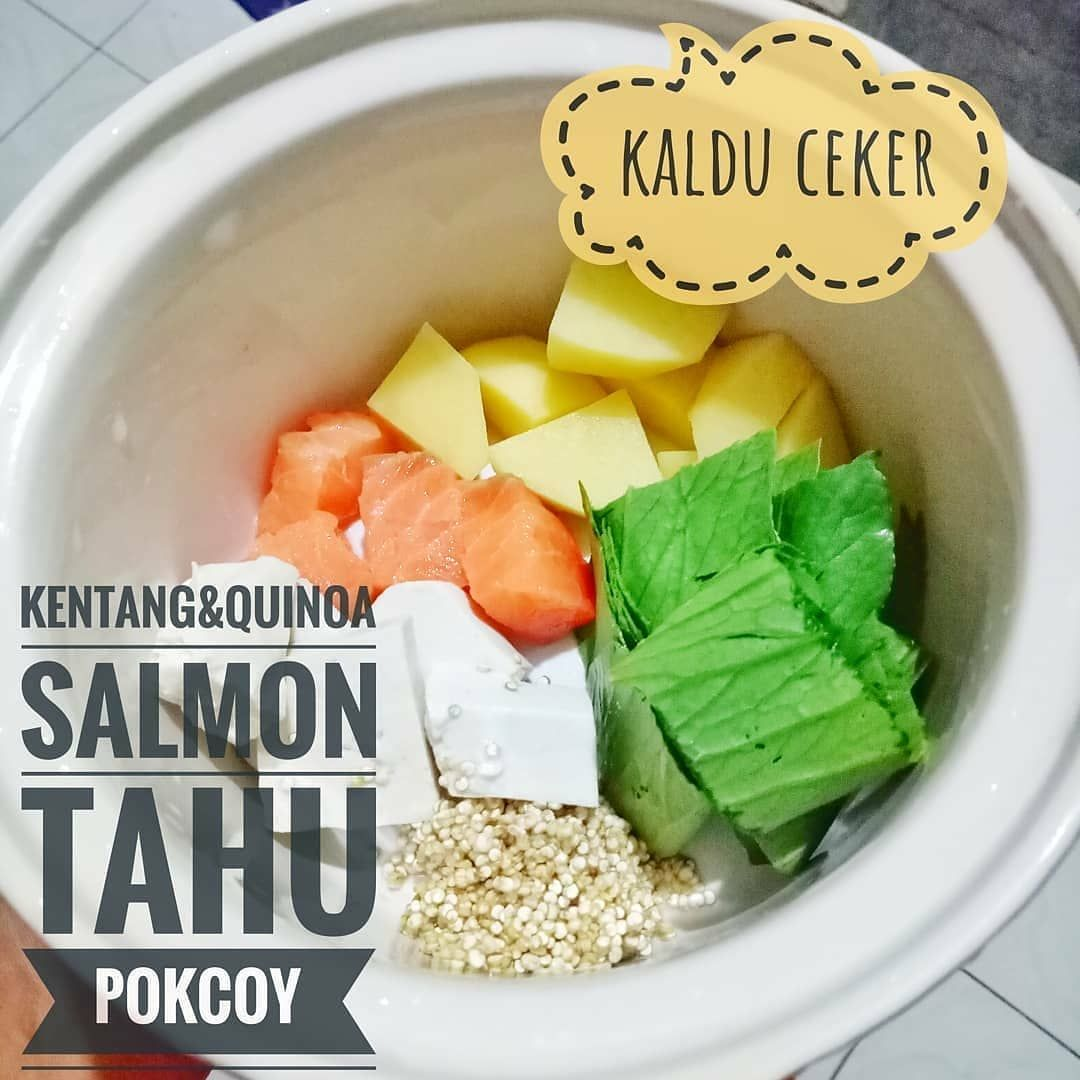 Menu Mpasi Made By Mommy Kikiyanantha Mpasi 6mo Day 20 Menu 4 Kentang Quinoa Ikan Salmon Tahu Resep Makanan Bayi Makanan Bayi Resep Salmon