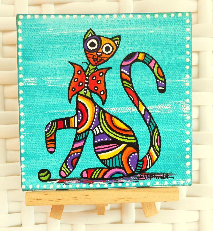 mini tableau du chat papillon sur chevalet d corations murales par sylphide dessin pinterest. Black Bedroom Furniture Sets. Home Design Ideas