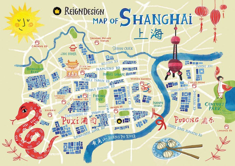 Subway Map Shanghai Tourist.Reigndesign Map Of Shanghai Map Travel Illustration In 2019