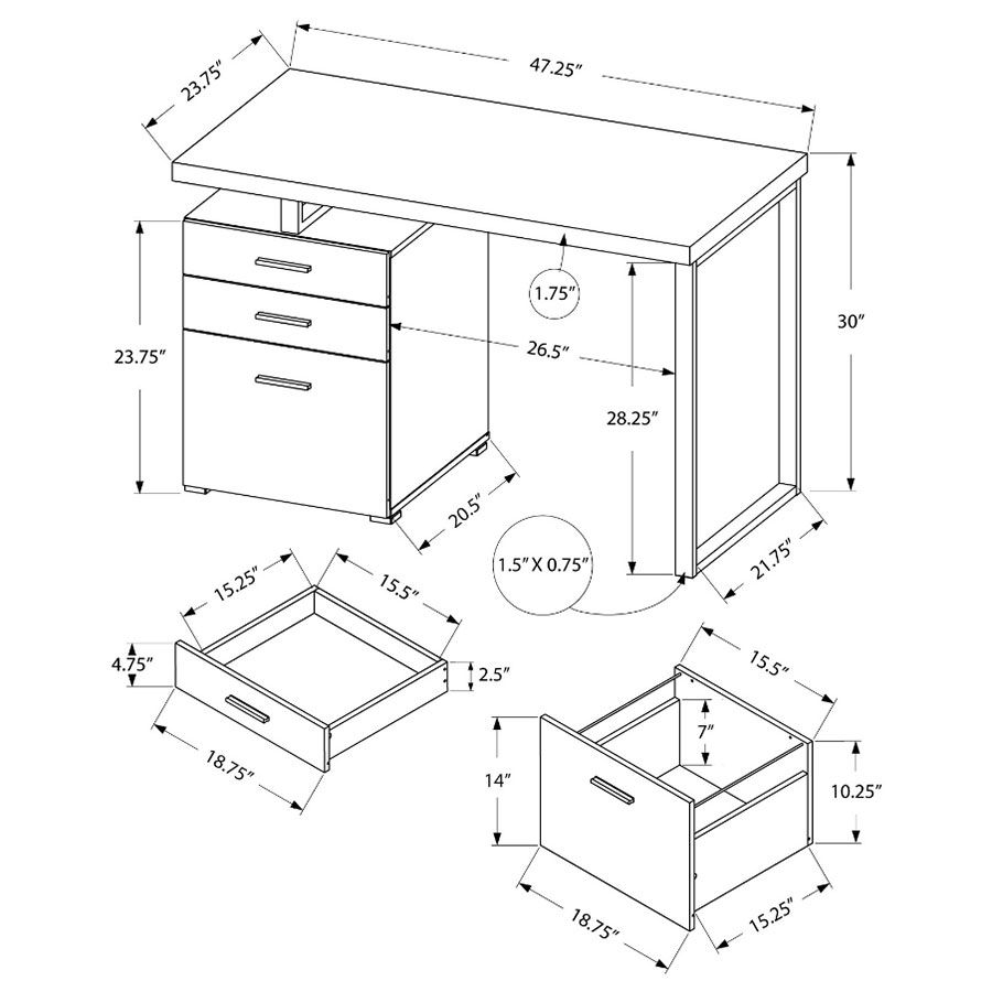 Carey Modern Desk - Dimensions Diagram