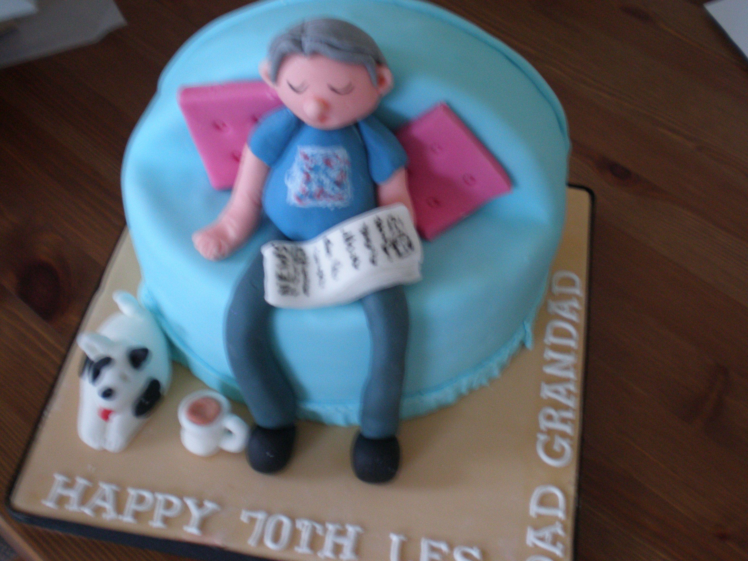 Just chilling 70th Birthday Cake wwwkitchenfairiesleedscouk