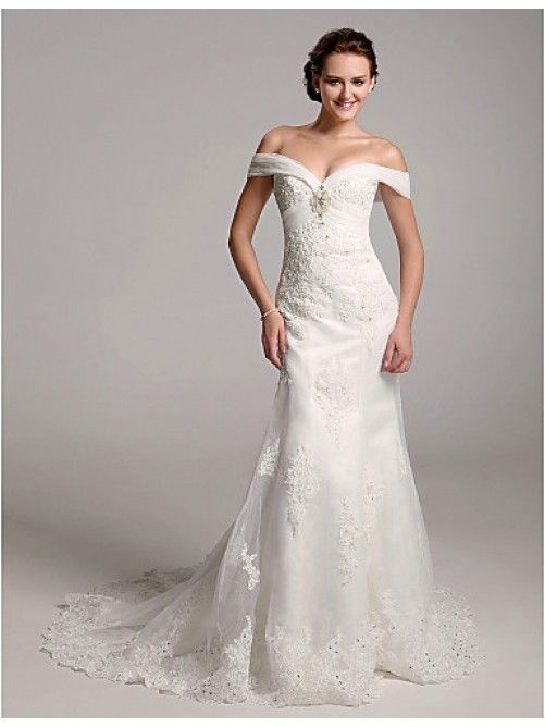 Trumpet Mermaid Off The Shoulder Organza Over Satin Wedding Dress With Removable Chapel Train