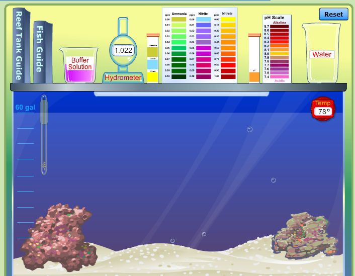 Nitrogen cycle virtual lab fish tank biome test for for Fish lab test