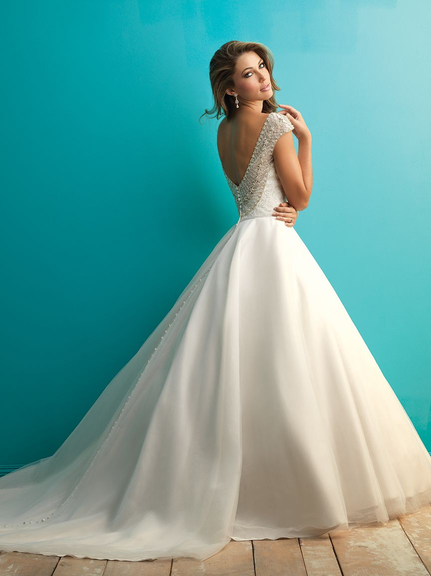 Cap sleeve ballgown with gorgeous beading by Allure Bridals ...