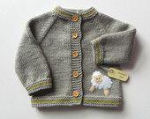 Chaqueta de punto de los cabritos con el suéter blanco de oveja gris del bebé Merino hecho a pedido