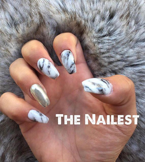 Black White Marble Gold Foil Leaf Studs Press On Nails Any Etsy Black Gold Nails Press On Nails Gold Nails