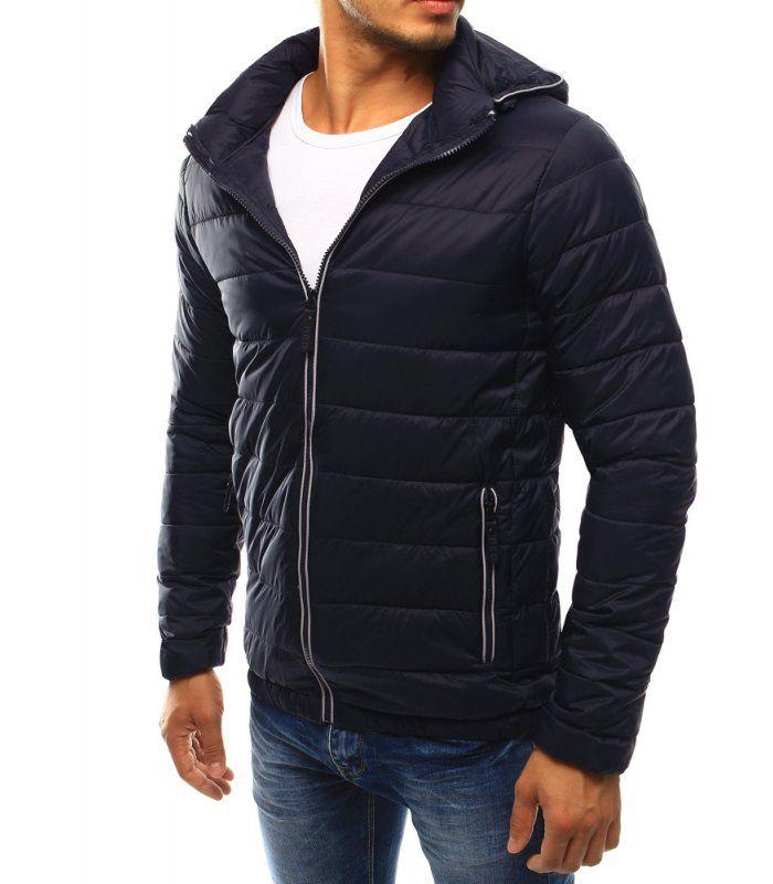2415d3e98a7e9 Pánska prešívaná tmavomodrá bunda s kapucňou | Pánske bundy