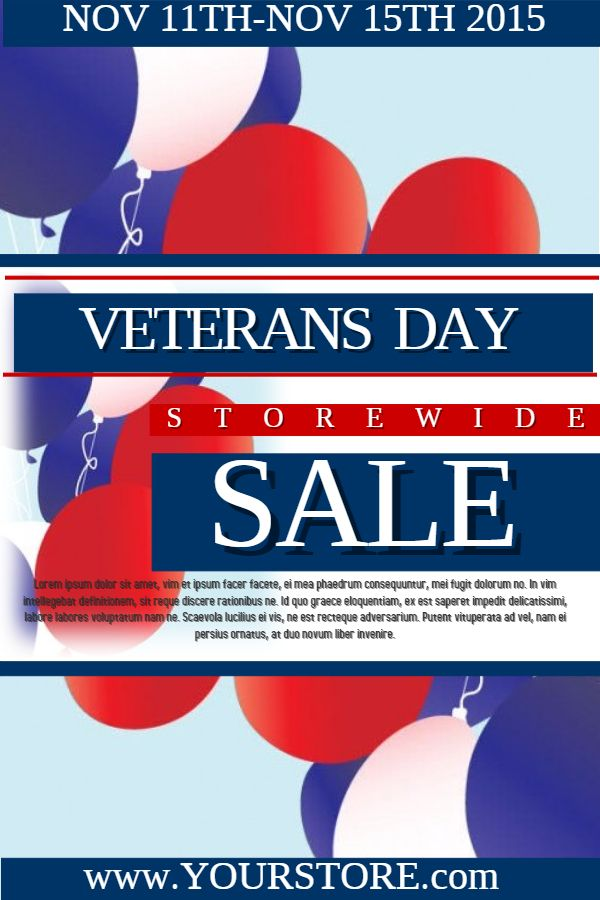 Veteran\u0027s Day sale poster template Veteran\u0027s Day Poster Templates - for sale poster template