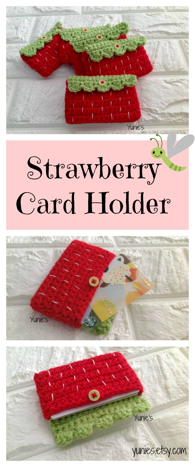 Crochet Strawberry card holder , Strawberry pouch , Business Card ...