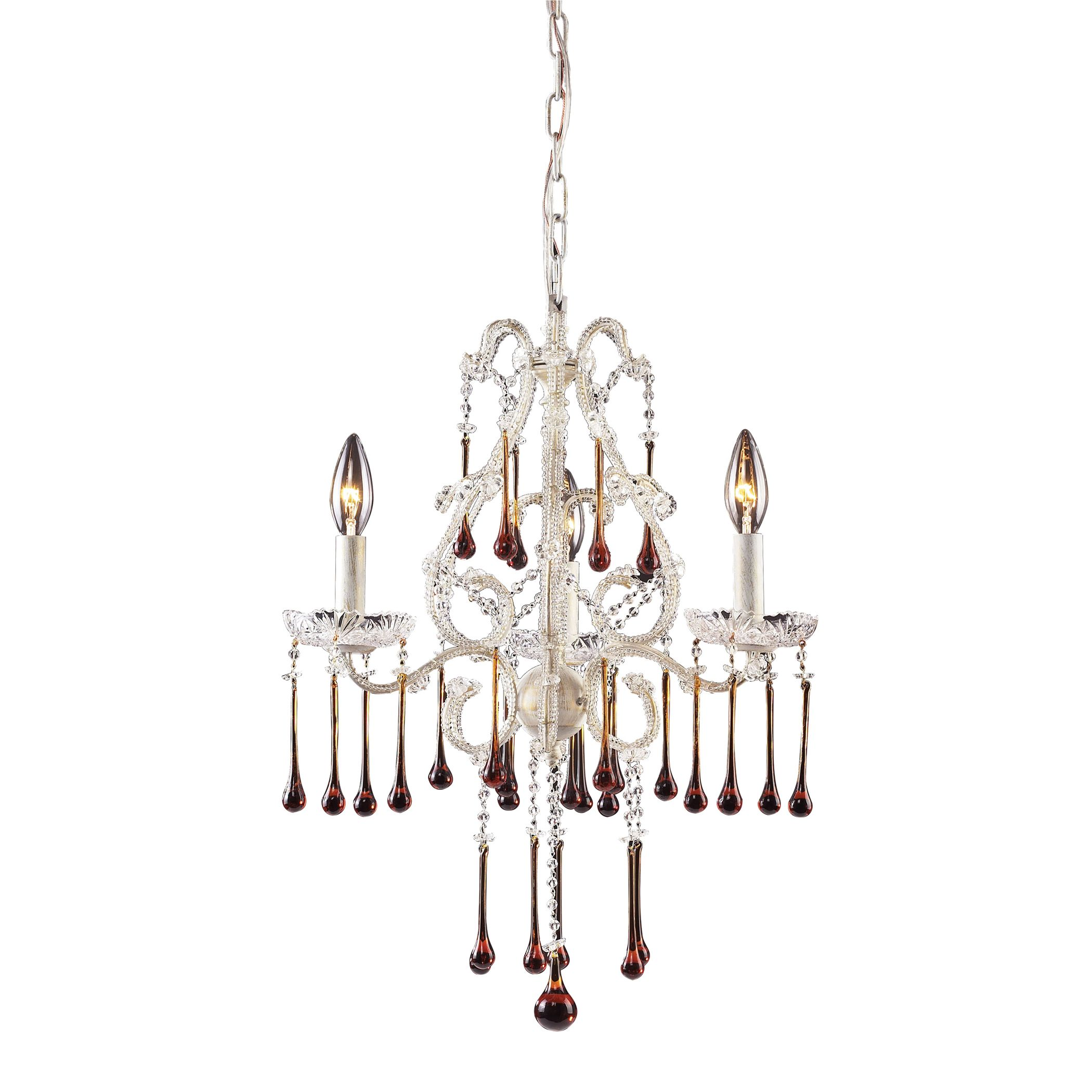 Opulence 3 Light Chandelier in Antique White and Amber Crystal