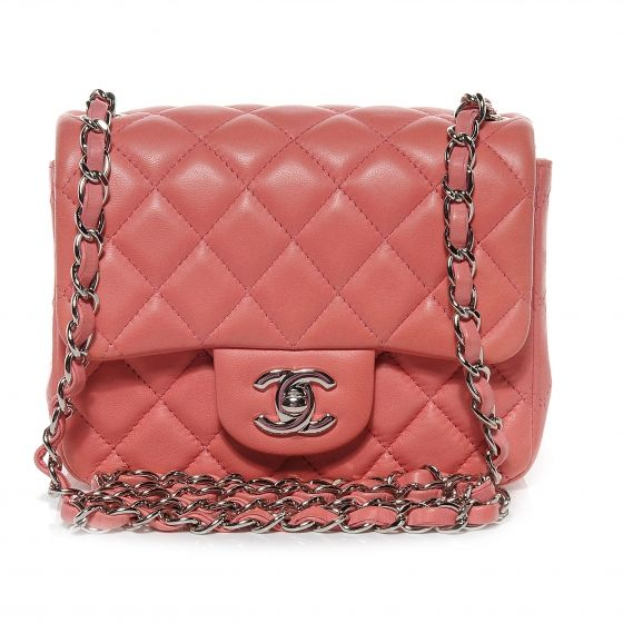 02933472dacc CHANEL Lambskin Quilted Mini Square Flap Dark Pink | Handbags ...