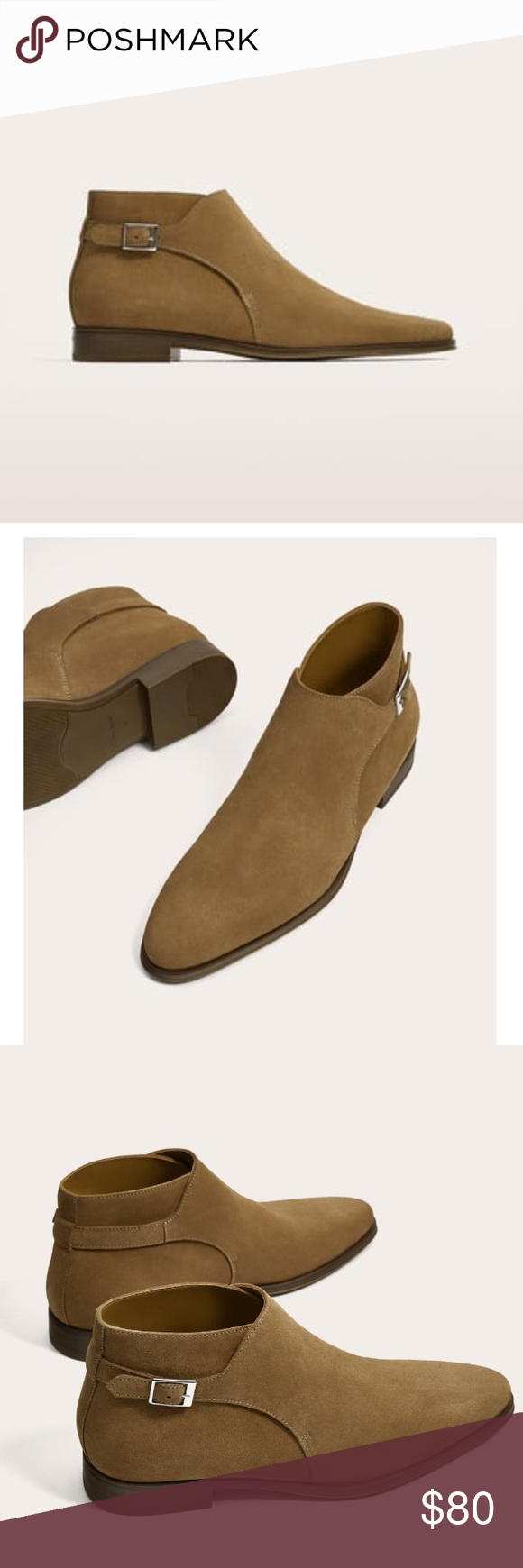 da93cfc2a1800 Zara man Chelsea boot size 44/11 men's Beige split suede leather ankle boots  with pointed toes, and buckle for fastening and caramel colored soles.