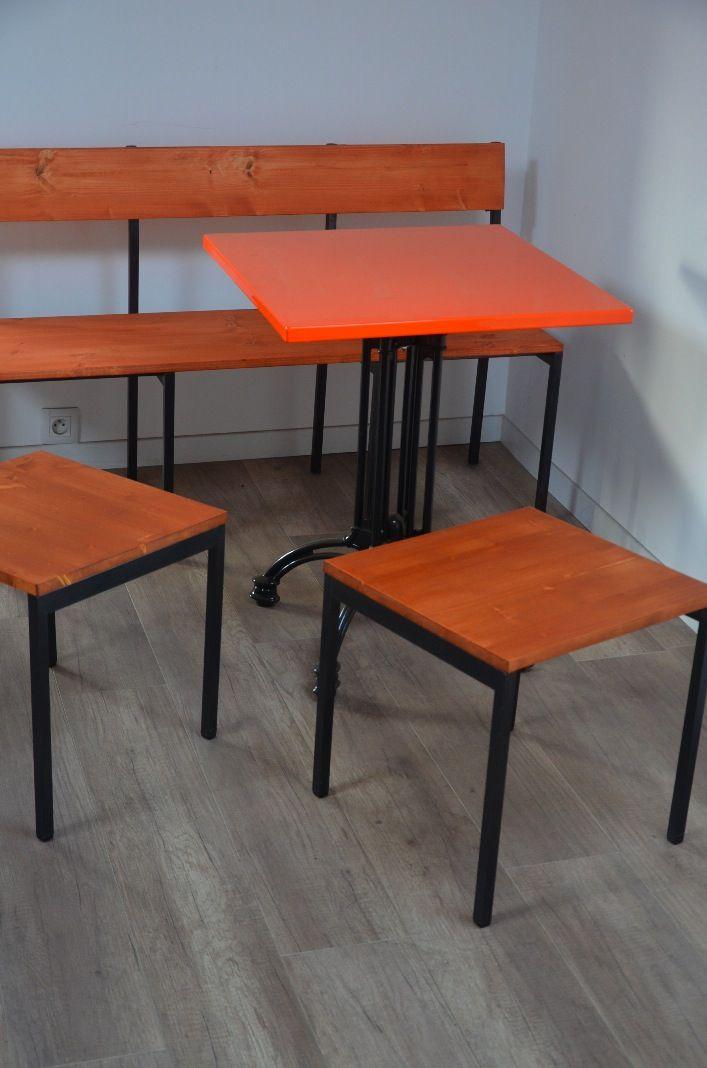 Tabouret Bois Metal Industriel Chaise Atelier Design Usine Carre Mobilier