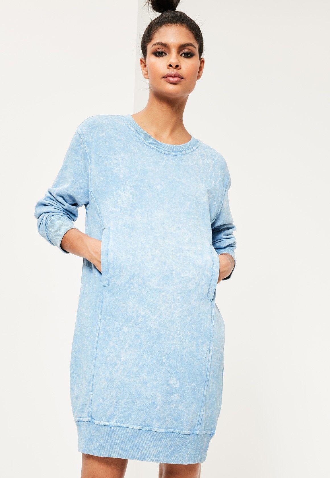 Blue denim wash pocket oversized jumper dress missguided