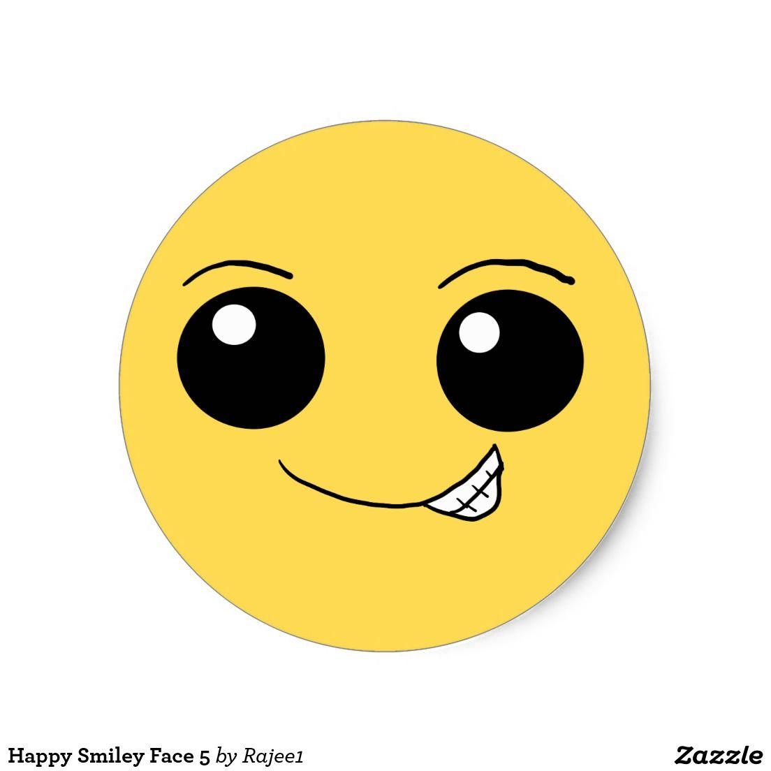 Happy face 5 classic round sticker happy