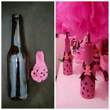Como Hacer Botellas Decoradas Con Globos En Vidrio Centros De Mesa Para Bautizos Decoración De Botellas Centros De Mesa Botellas Globos