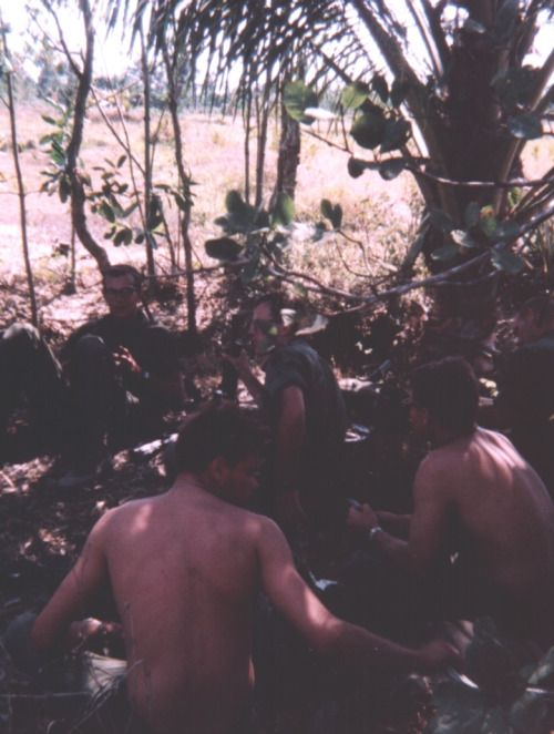 Recon platoon soldiers with the 9th Inf. Div. take a rest.