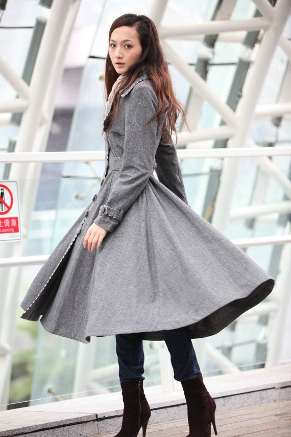 Grey Cashmere Coat Big Sweep Grid Women Wool Winter Coat Long ...