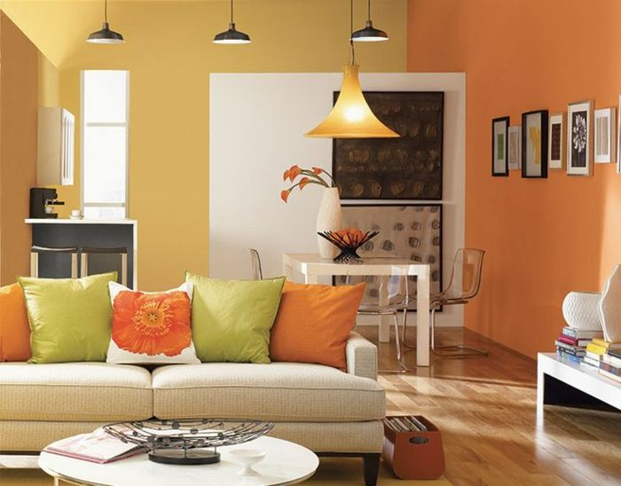 wandfarbe ideen wohnzimmer farbige w nde orange. Black Bedroom Furniture Sets. Home Design Ideas