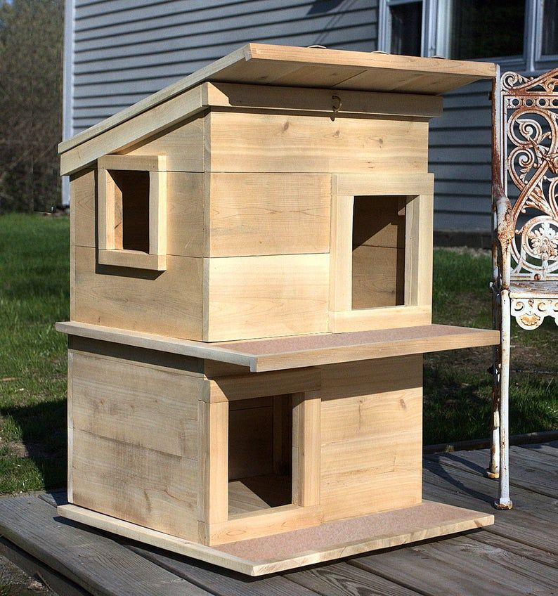 Cat House Outdoor Cat Shelter Condo For Your Rescue Cat Comfy Insulated For Your Kitten The Best Cat Lover Gift In 2021 Outside Cat House Cat House Diy Wooden Cat House