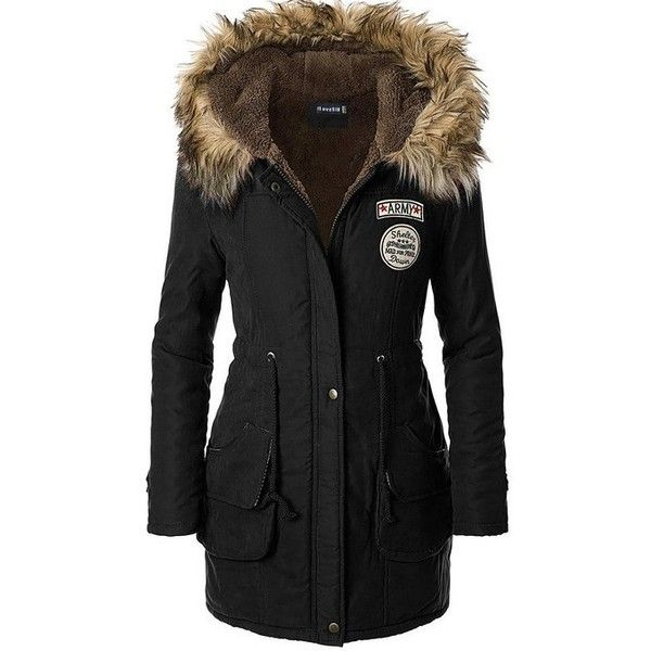 iLoveSIA Womens Hooded Winter Jackets Faux Fur Lined Parkas Army ...