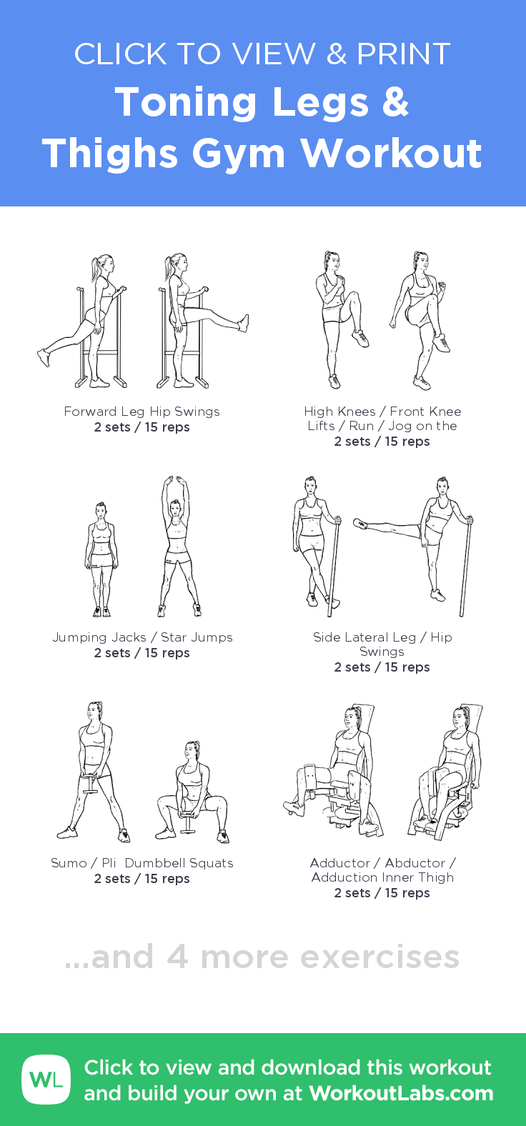 Toning Legs & Thighs Gym Workout click to view and print