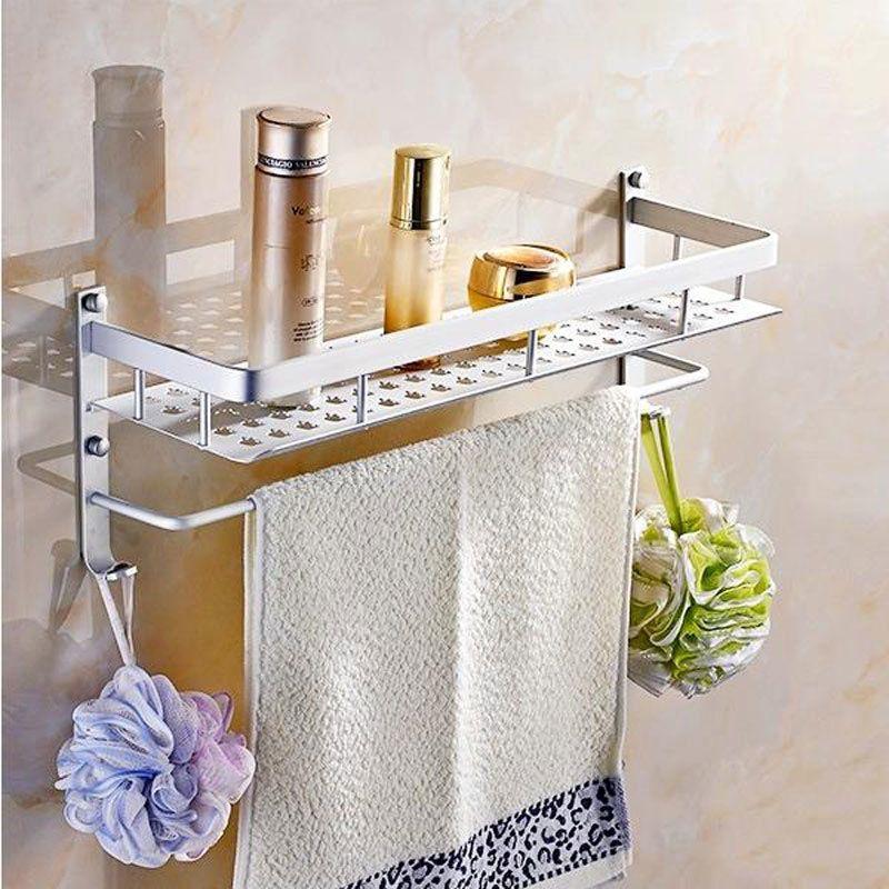 Aluminum 1 Tier 50 cm Wall Mounted Bathroom Shelf Washing Shower ...