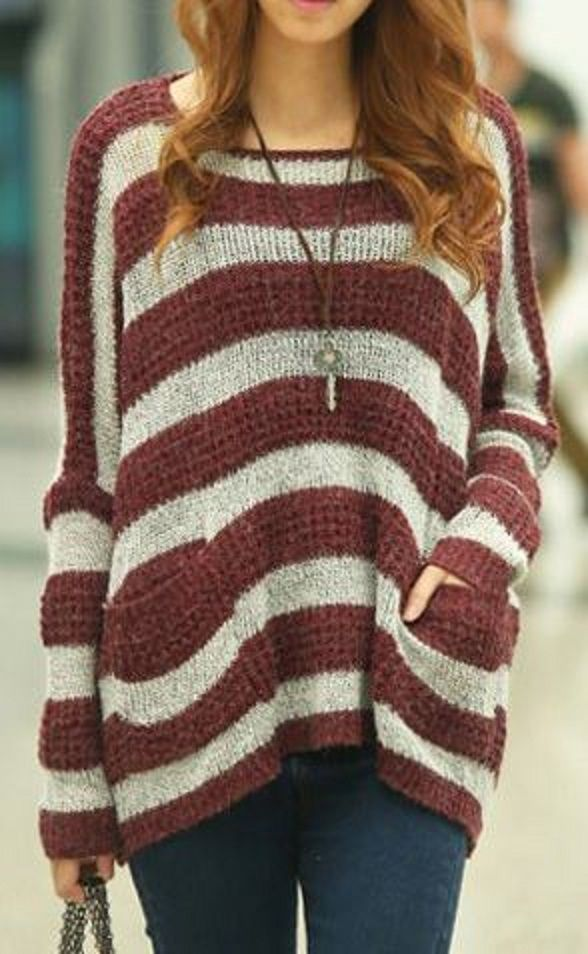 Love the Pockets + the Stripes! Wine and Grey Stylish Scoop Neck Striped Long Sleeves Sweater #Sweater #Love #Stripes #Wine #Red #Grey #Fall #Sweater #Fashion