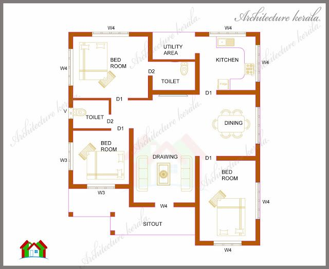 Architecture kerala three bedrooms in 1200 square feet for Three bedroom house plan