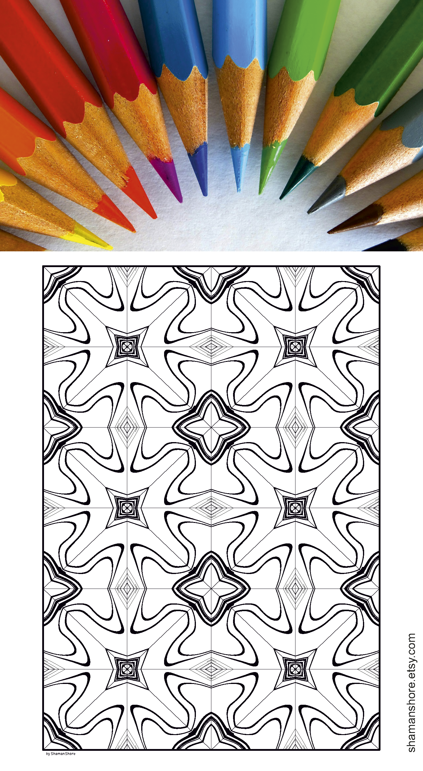 35 Abstract Kaleidoscope Adult Coloring Pages Printable Digital Book Pdf INSTANT DOWNLOAD