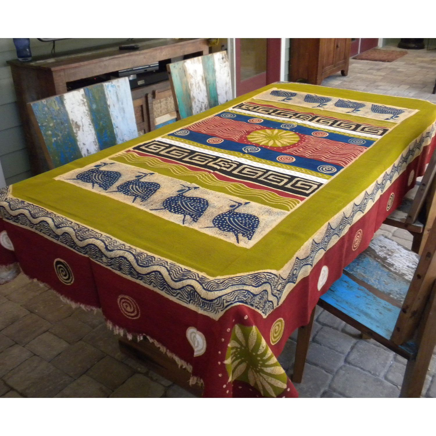 Hand Painted Table Cloth 92 inches by 56 inches - Tonga Textiles ...