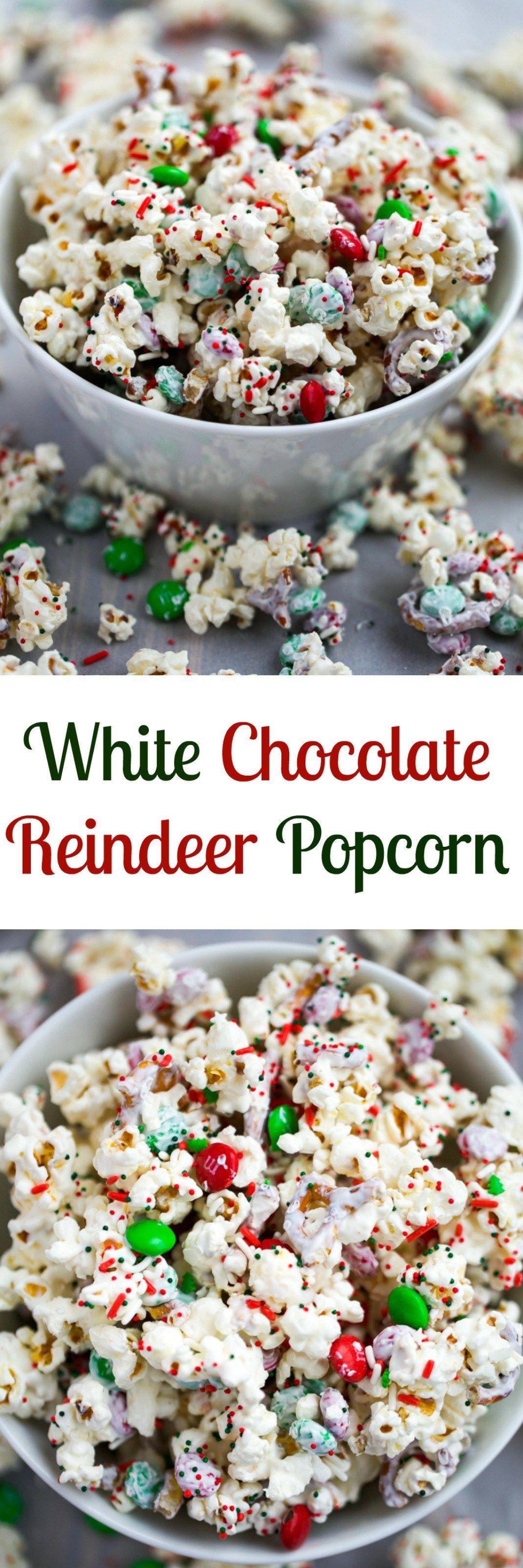 White Chocolate Reindeer Popcorn #dryidea