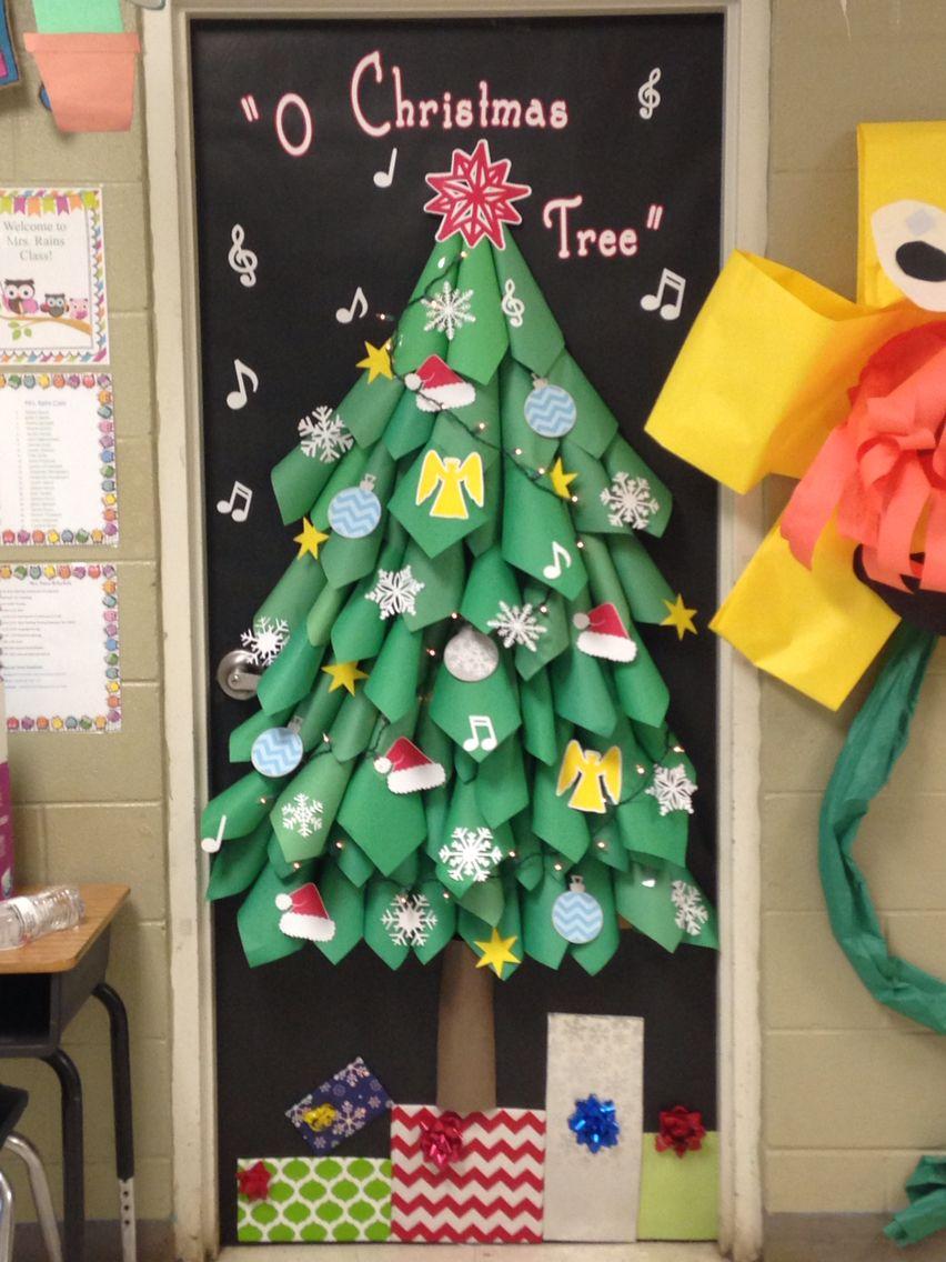 Christmas tree classroom door decorations - Door I Did For My Sons Teacher Classroom Door Decor