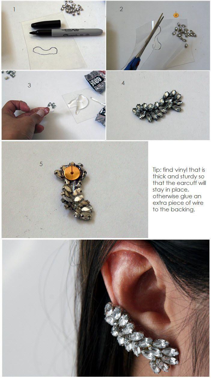 DIY Rhinestone Ear CuffFree Diy Jewelry Projects | Learn how to make ...