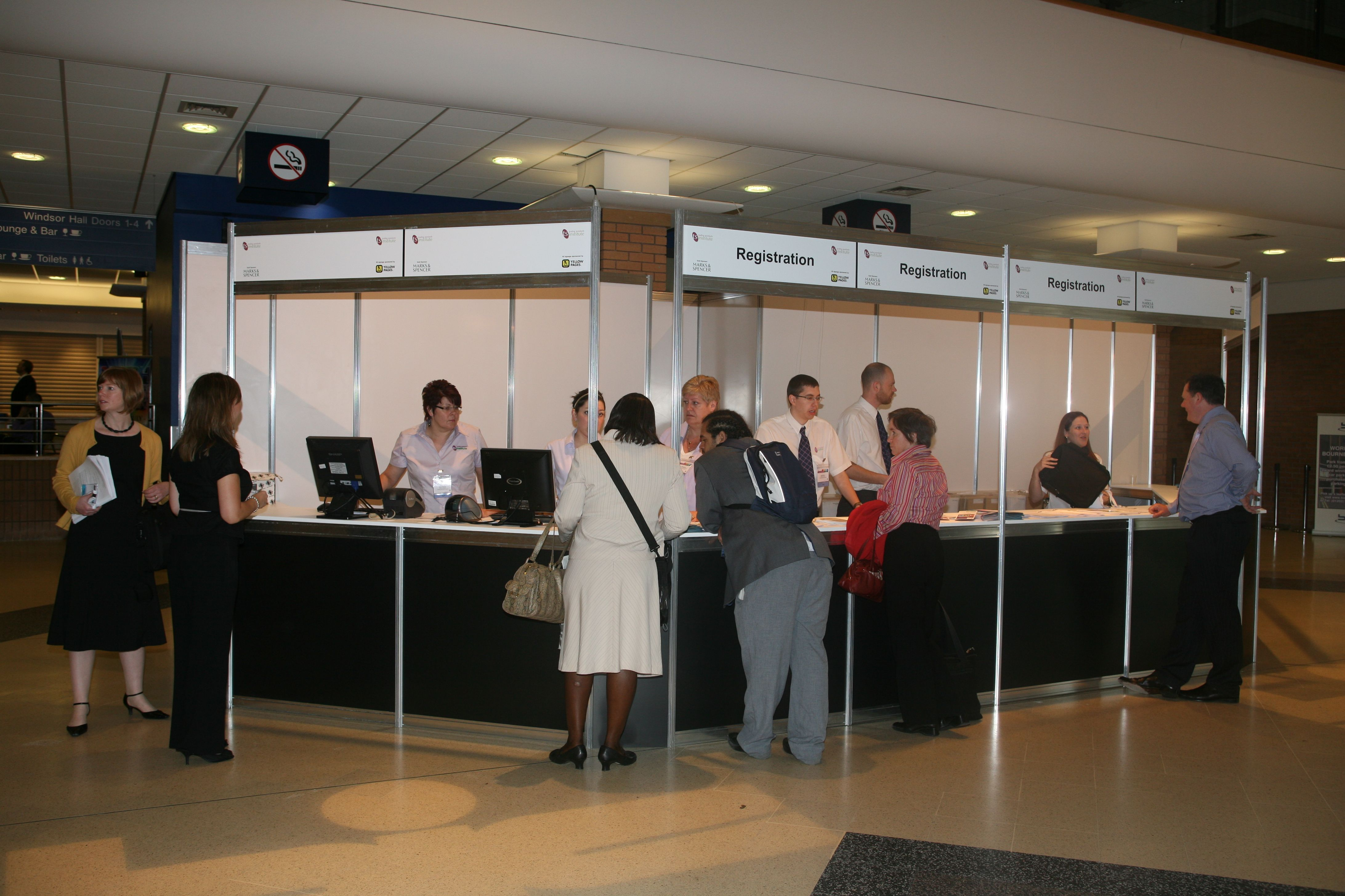 Exhibition Shell Scheme Panels : White octanorm panels registration reception areas