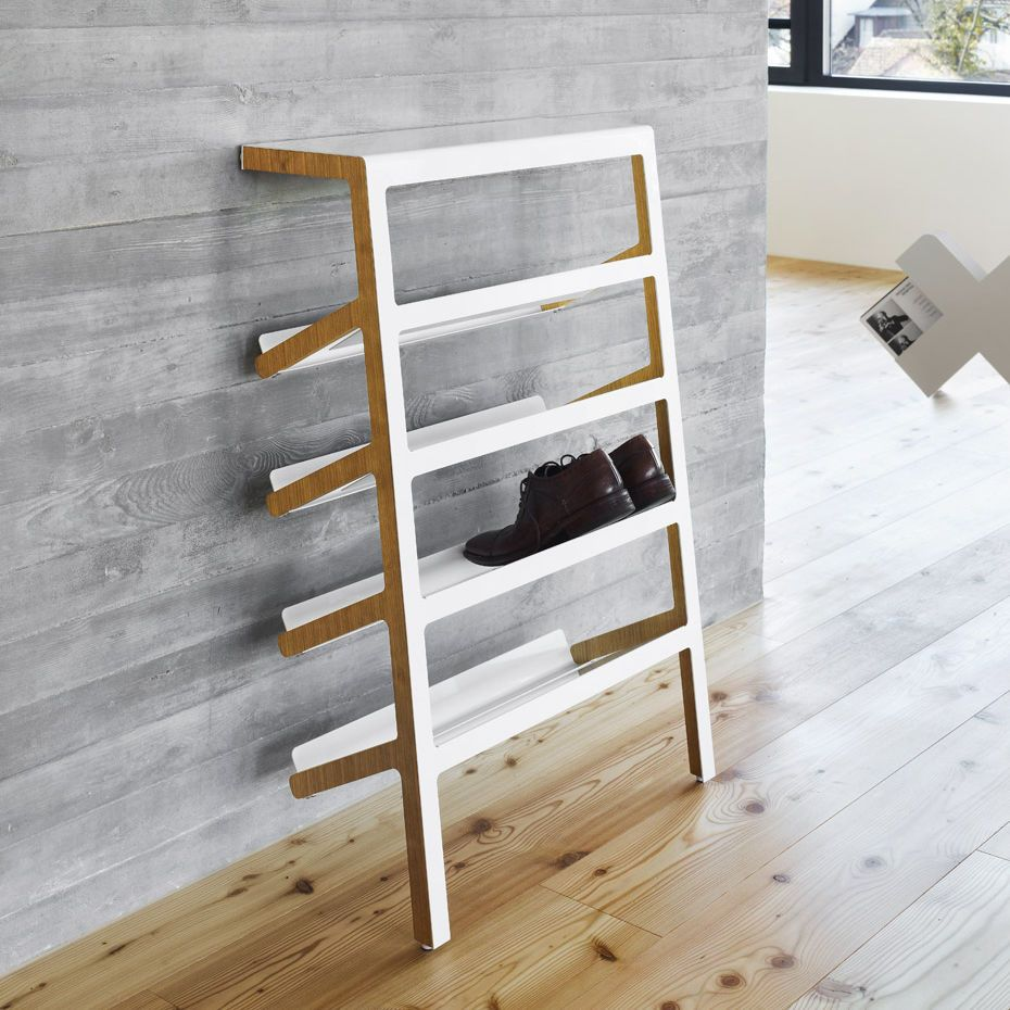 Contemporary Shoe Rack Plywood Sheet Steel MILA By Yuniic MOX AG