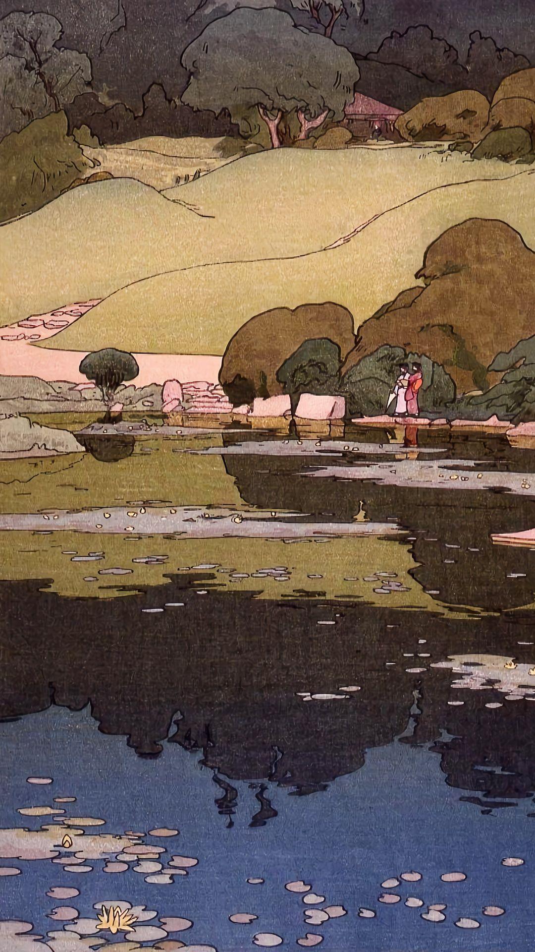 吉田博 東京拾二題 植物園の睡蓮 Yoshida Hiroshi 1080x19 壁紙ギャラリー Kagirohi アニメの風景 美的芸術 壁紙アート